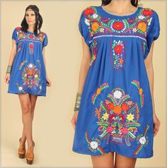 ViNtAgE 70's Blue Mexican EMBROIDERED MiNi by hellhoundvintage, $58.00