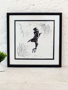Final Fantasy IV inspired Minimalist Mexican rustic art print || Linoleoum Etching