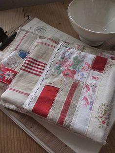 小さなマット アンティークファブリック&リネン&手刺繍レース ¥360円 〆03月11日
