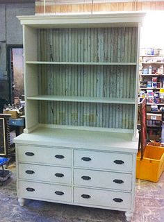 Turn Bookshelf and dresser into kitchen hutch or, separate, put back to back, caulk, paint and walla...a kitchen island