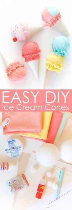 Easy and adorable fabric ice cream cones perfect decor for a girl's bedroom or a summer party. These match the new Pillowfort line from Target perfectly!