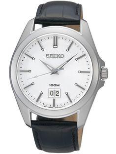 Armbåndsur fra Seiko med safirglas - Seiko Classic Black/Silver/White SUR007P2