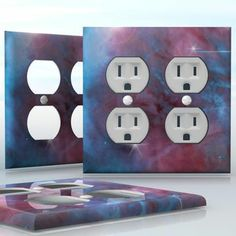 DIY Do It Yourself Home Decor - Easy to apply wall plate wraps | Blue Galaxy  Light blue and purple colored space clouds, beautiful nebula image  wallplate skin sticker for 2 Gang Wall Socket Duplex Receptacle | On SALE now only $4.95
