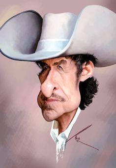 """Bob Dylan"" by besikdug  #caricature #celebrity #illustration"