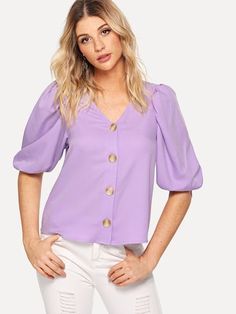 Casual Plain Shirt Regular Fit V neck Half Sleeve Placket Purple Regular Length Button Up Bishop Sleeve Top Blouse Styles, Blouse Designs, Work Casual, Casual Chic, Bishop Sleeve, Plain Shirts, Blouse Outfit, Blouse Online, Silk Chiffon