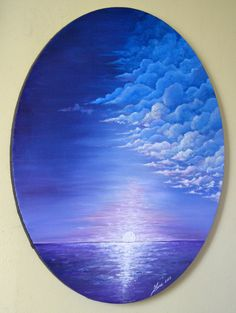 Original Abstract Painting on 24x20 oval canvas is a breath taking escape from the normal canvas shape. This unique blue lavender sunset ocean painting look stunning against a wide range of paint colors and will bring life to your space. Cool Gift For Him! Oval canvas stretched around frames. Staple free sides. Edges are painted black. Ready to hang blue abstract seascape with clouds canvas wall art. This oval wall art is wired and ready to ship. I want to inspire your imagination to…
