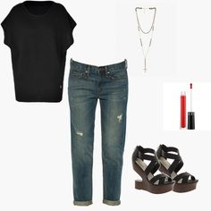 A black t-shirt can be the perfect top for a night out! Styled by Aries on WiShi.me (where friends style friends for upcoming events) Follow our styling boards for all the inspiration you need for any event!