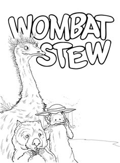 Emu Platypus and Wombat coloring page