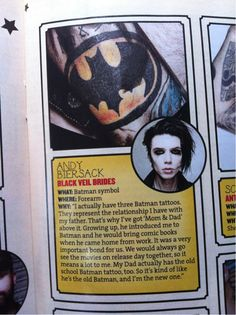 Andy's batman tattoo meaning omg wanted to cry don't know why but i do