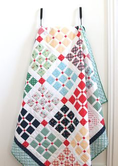 """New 10"""" Precut Quilt Pattern for Prep School Picnic by popular Utah quilting blog, Diary of a Quilter: image of a Layer Cake Prep School Picnic quilt."""