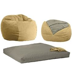 Perfect for sleepovers at grandma's or lounging in the family room, this super-soft velour bean bag chair converts from a cozy seat to a full-sized bed big enough to sleep two kids or one adult when the cover is removed. Supportive foam cradles and conforms to your body in either mode, making it the best seat in the house. From CordaRoy's. QVC.com