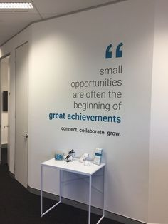 Commercial office wall quote at Foundational Business Centre – – Office Design 2020 Corporate Office Design, Office Wall Design, Industrial Office Design, Cool Office Space, Office Branding, Office Interior Design, Office Interiors, Office Designs, Industrial Architecture