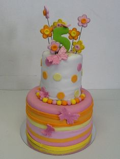 A pretty pink, yellow, and orange birthday cake - Belle's Patisserie.