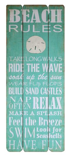 Waterside Beach Rules Wall Sign Wall Décor