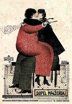Polish/Original Title Supel malzenski English/Original Title The Knot of Matrimony Poster Designer Kaja Ryszard Category theater poster Theatre Polish Year of Print 2016 Digital Illustration, Graphic Illustration, Poster Shop, Gig Poster, Polish Movie Posters, Inspirational Artwork, Festival Posters, Advertising Poster, Vintage Posters