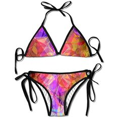 d2710b7f7ec0c Lton Abstract Colorful Womens' Youth SexyModern Coloring Floral Tied At  Back Halter Padded Bikini Beach