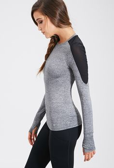 FOREVER21 Power Mesh Athletic Top | charcoal/black