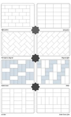 Tile and brick layers speak a language all their own. Here's a cheat sheet on some of the most popular patterns to consider.