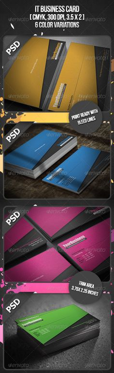 "IT Business Card #GraphicRiver General Description Business cards, especially for a Designers or for any other type of business easy to modify. Detail Fully Layered PSD files Fully Customizable and Editable CMYK Setting 300 DPI High Resolution 3.5"" x 2""(3.75"" x 2.25"" with bleed setting) Print Ready Format Horizontal Orientation 6 Color Variations – Orange, Blue, Pink, Green, Turquoise, Purple Font Used: Impact, Myriad pro, Aller Link Fonts 1: .myfonts /fonts/ascender/impact/ Link Fonts 2…"