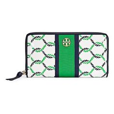 Tory Burch Printed Patent Zip Continental Wallet ($195) ❤ liked on Polyvore featuring bags, wallets, isle ropes print, fold-over crossbody bags, long bags, pattern bag, white patent bag and tory burch wallet
