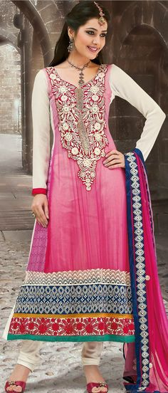 Light Pink and Off White Faux Georgette Churidar Kameez