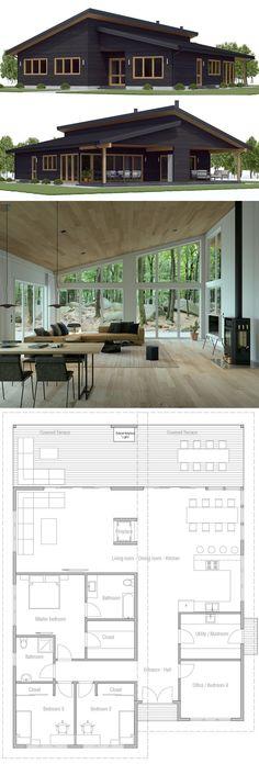 Small Modern House Plans, Modern Small House Design, New House Plans, Dream House Plans, House Floor Plans, Modern Architecture House, Architecture Design, Cottage Plan, Cottage House