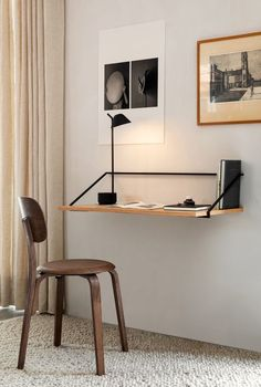 35 Admirable Minimalist Modern Furniture Design Ideas - Modern minimalist décor is very powerful when it is handled correctly. Contrary to what many think, this interior design style is not about leaving sp. Office Furniture Design, Home Office Design, Home Office Decor, Modern Wood Furniture, Small Furniture, Minimalist Desk, Minimalist Furniture, Decoration Ikea, Wall Desk