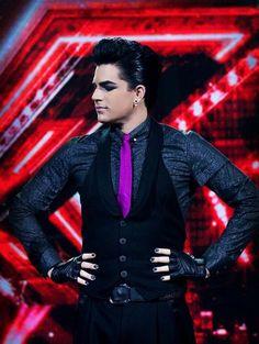 adam lambert rocking that putple tie! and the Hell YA! pose