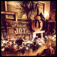 My christmas mantel 2013 Fireplace Mantel Christmas Decorations, Christmas Mantels, Fireplace Mantels, Holiday Decorations, All Things Christmas, Christmas Time, Good Cheer, Christmas Traditions, Reindeer