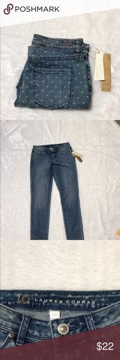 LC Lauren Conrad stress jeans 👖 NWT *stress look *inseam approx 28 1/2 *front flat 14 1/2  *rise 8 *has heart look on jeans *let me know if you have any questions LC Lauren Conrad Jeans Skinny