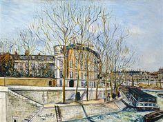 Le quai d'Anjou peint par Maurice Utrillo (1883-1955) en 1925  (Paris 4ème)