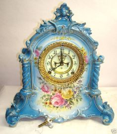 Ansonia Royal Bonn La Verdon Porcelain Mantel Clock
