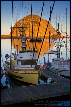 Picture: Commercial Fishing Boats and Morro Rock at sunrise, Morro Bay, California