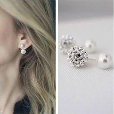 89a024e3e double sided earrings Flower Earrings, Crystal Earrings, Sterling Silver  Earrings, Stud Earrings,