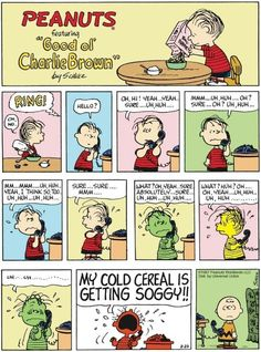 "Charles M. Schulz's classic ""Peanuts"" looks at the lives of Charlie Brown, Snoopy, and other favorite characters. Peanuts Cartoon, Peanuts Snoopy, Peanuts Comics, Old Cartoons, Funny Cartoons, Funny Comics, Charlie Brown Comics, Charlie Brown And Snoopy, Snoopy Comics"