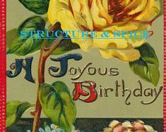 Antique Happy Birthday Postcard With a Joyous Birthday Message and Beautifully Embossed Yellow Rose. This Card is Circa the Early 1900's. - Edit Listing - Etsy