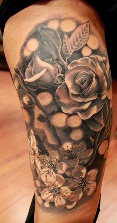 #realistic #blackandgray #flowers #rose #tattoo #sexy #girl #cherry #flower #painful #art #manu