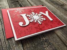 Homemade Cards Discover Set of 5 Joy Christmas Cards Handmade Blank Christmas Notecards Holiday Snowflake Cards Set Cricut Christmas Cards, Simple Christmas Cards, Homemade Christmas Cards, Homemade Cards, Christmas Diy, Holiday Cards, Stampinup Christmas Cards, Christmas Cards For Children, Spellbinders Christmas Cards