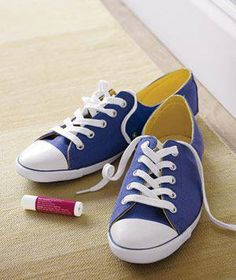 Lip balm, applied to where you loop and knot will help keep sneaks tied! Go figure!
