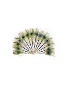 Hand-fan with peacock feathers by Duvelleroy