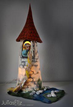 Filz Tischlampe Rapunzelturm weiß blau grau von juliasfilz auf DaWanda.com