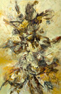 """""""TRAMA EN OCRE IV """" Técnica mixta , acrílico, crayón de cera sobre lienzo. 150 cm. X 100 cm. Año de realización: 2013"""