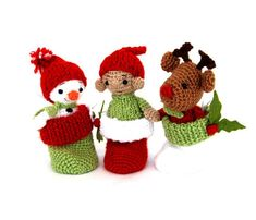 $104.18 set of Christmas decoration, three Christmas #character in #stockingstuffer, crochet ornament, Christmas in July, handmade #gift by crochAndi
