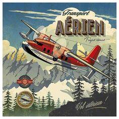 Art Print: Transport aérien by Bruno Pozzo : Vintage Advertisements, Vintage Ads, Creation Photo, Frames For Canvas Paintings, Vintage Airplanes, Aviation Art, Aviation Theme, Tropical Art, Art Graphique