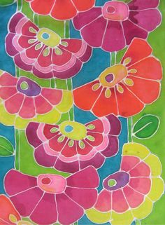 Crazy Daisies - painted silk scarf