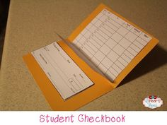 Student checkbook. I'd love to create something like this for my students this year. Especially since Texas has added a Finance Unit to our TEKS.
