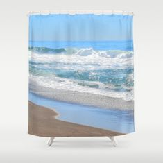 Frothy White Ocean Waves Shower Curtain, Baby Blue Shower Curtain Beach Shower Curtain Sandy Brown F Beach Shower Curtains, Bathroom Curtains, Brown Bathroom, Bathroom Beach, Santa Decorations, Diy Wall Stickers, Solar String Lights, Beach Print, Living Room Pictures