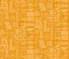 Woodtype Alphabet - Mono Orange fabric by pennycandy on Spoonflower - custom fabric