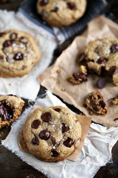 """The best ever flourless + healthier chocolate chip cookies. These cookies have no butter, white flour, or refined white sugar. They are bursting with flavor and sure to be your new favorite healthy """"indulgence."""" I hope you all know I don't just throw around the words """"best ever."""" In fact, I don't think those two..."""