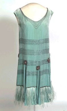 ~Evening Dress: ca. 1920's, Norwegian, silk velvet, ostrich feathers, fringe, beads, pearls, woven velvet binding, bead embroidery, appliqued bead rosettes~